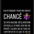 Alicia Aylies fait une grosse mise au point sur sa vie privée sur Instagram, le 2 juillet 2018.