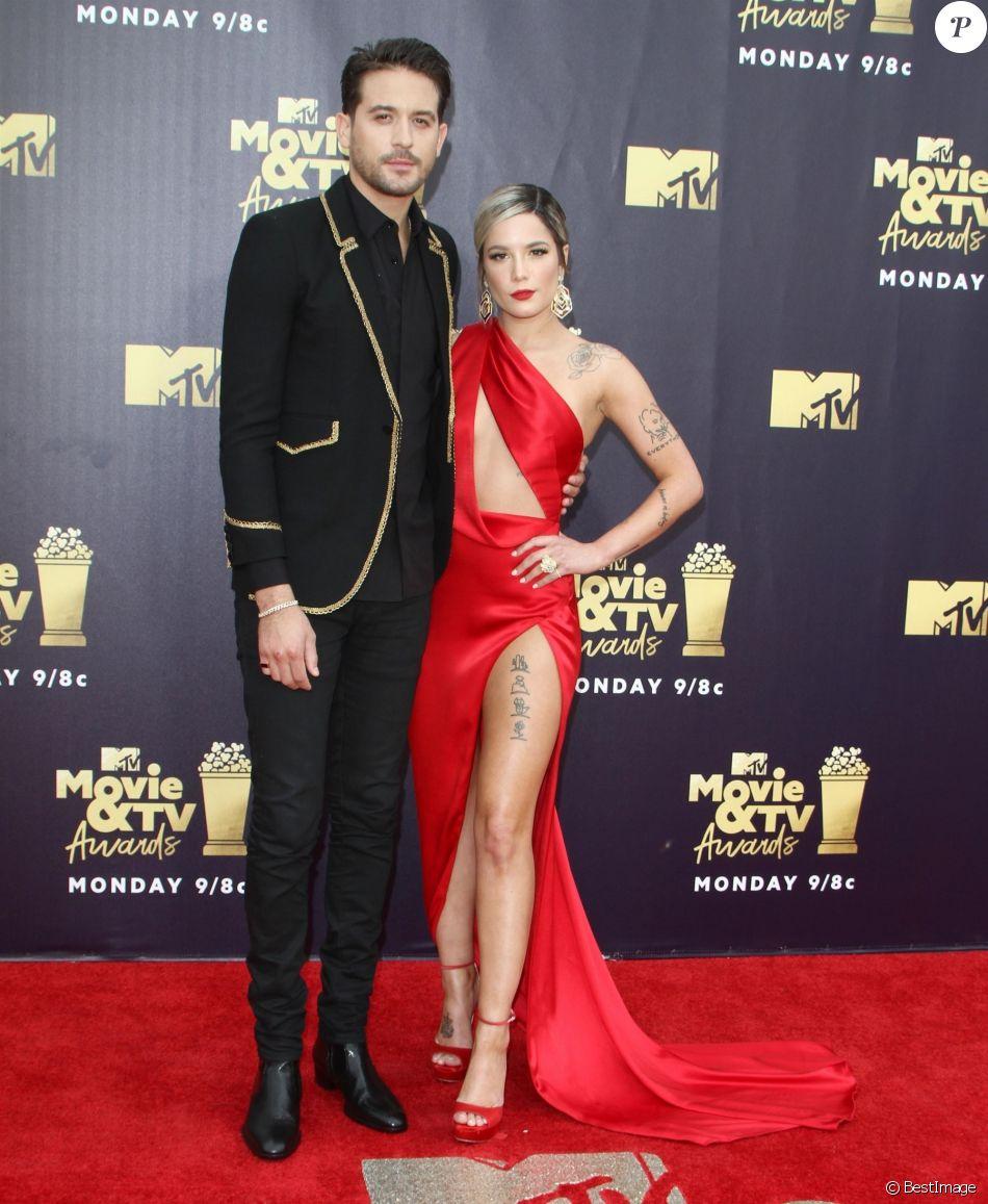 """G-Eazy et Halsey - Les célébrités posent lors du photocall de la soirée des """"MTV Movie And TV Awards"""" à Santa Monica le 16 juin 2018."""