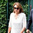 Carole Middleton à son arrivée au tournoi de Wimbledon le 4 juillet 2018 pour le match de Roger Federer contre Lukas Lacko.