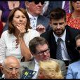 Carole Middleton et Gerard Piqué dans la royal box au tournoi de Wimbledon le 4 juillet 2018 lors du match de Roger Federer contre Lukas Lacko.
