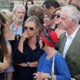 Dorothée (Frédérique Hoschedé), Jacky Jakubowicz, Ariane Carletti - Obsèques de François Corbier (Alain Roux de son vrai nom) au cimetière de Serez dans l'Eure le 5 juillet 2018.