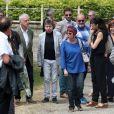 Jacky Jakubowicz, Ariane Carletti - Obsèques de François Corbier (Alain Roux de son vrai nom) au cimetière de Serez dans l'Eure le 5 juillet 2018.