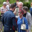 Jacky Jakubowicz, Wilfried Roux (fils de François Corbier), Ariane Carletti, Doune Roux (veuve de François Corbier) - Obsèques de François Corbier (Alain Roux de son vrai nom) au cimetière de Serez dans l'Eure le 5 juillet 2018.