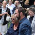 Dorothée (Frédérique Hoschedé), Wilfried Roux (fils de François Corbier) - Obsèques de François Corbier (Alain Roux de son vrai nom) au cimetière de Serez dans l'Eure le 5 juillet 2018.