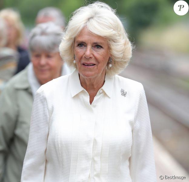 Le prince Charles et Camilla Parker Bowles, duchesse de Cornouailles, en visite à Llandovery. Le 4 juillet 2018