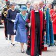 La reine Elizabeth II d'Angleterre arrive à l'abbaye de Westminster, le 10 juillet 2018 à Londres, pour le service marquant le centenaire de la Royal Air Force (RAF).