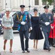 La duchesse Catherine de Cambridge (Kate Middleton), le prince William, la duchesse Meghan de Sussex (Meghan Markle) et le prince Harry à l'abbaye de Westminster, le 10 juillet 2018 à Londres, pour le service marquant le centenaire de la Royal Air Force (RAF).