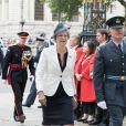 Le Premier ministre britannique Theresa May à l'abbaye de Westminster, le 10 juillet 2018 à Londres, pour le service marquant le centenaire de la Royal Air Force (RAF).