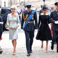 La duchesse Catherine de Cambridge (Kate Middleton), le prince William, la duchesse Meghan de Sussex (Meghan Markle) et le prince Harry arrivant à l'abbaye de Westminster, le 10 juillet 2018 à Londres, pour le service marquant le centenaire de la Royal Air Force (RAF).