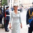 La duchesse Catherine de Cambridge (en Alexander McQueen) à l'abbaye de Westminster, le 10 juillet 2018 à Londres, pour le service marquant le centenaire de la Royal Air Force (RAF).