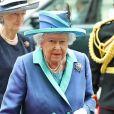 La reine Elizabeth II à l'abbaye de Westminster, le 10 juillet 2018 à Londres, pour le service marquant le centenaire de la Royal Air Force (RAF).