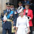 Le prince Edward et la comtesse Sophie de Wessex à la sortie de l'abbaye de Westminster, le 10 juillet 2018 à Londres, lors du service marquant le centenaire de la Royal Air Force (RAF).
