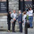 Le prince Harry, duc de Sussex et sa femme Meghan Markle, duchesse de Sussex lors de leur visite au collège de la trinité à Dublin le 11 juillet 2018