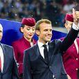 Le président Emmanuel Macron - Finale de la Coupe du Monde de Football 2018 en Russie à Moscou, opposant la France à la Croatie (4-2) le 15 juillet 2018 © Moreau-Perusseau / Bestimage