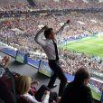 Emmanuel Macron lors de la victoire de l'équipe de France en Russie, le 15 juillet 2018.