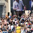 Hugo Lloris, le gardien et capitaine de l'équipe de France de Football, en famille avec sa femme Marine et leurs filles Anne-Rose et Giuliana, et avec Christian Estrosi, le maire de Nice, sur le balcon de la mairie de Nice le 18 juillet 2018. Il a été fêté par la ville de Nice 3 jours après sa victoire à la finale de la Coupe du Monde 2018. © Bruno Bebert/ Bestimage