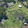 Exclusif - Vue aérienne des obsèques de Chester Bennington de Linkin Park à Palos Verdes le 29 juillet 2017