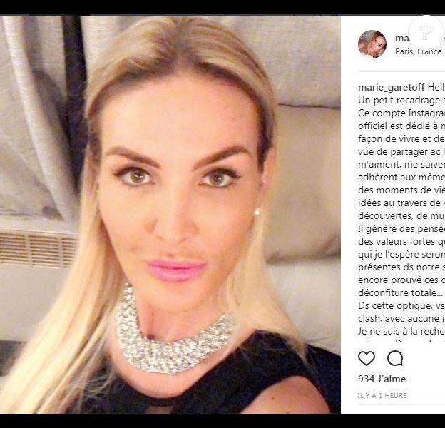 Message de Marie Garet, Instagram, 12 février 2018