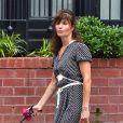 Exclusif - Helena Christensen sort avec son chien dans la rue à New York le 19 juin 2018.