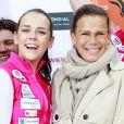 Stéphanie de Monaco et sa fille Pauline Ducruet - Départ du 28e Rallye Aïcha des Gazelles depuis la Place du Palais de Monaco à Monaco le 17 mars 2018. © Claudia Albuquerque/Bestimage
