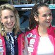Jazmin Grace Grimaldi et sa cousine Pauline Ducruet lors du départ du 28e Rallye Aïcha des Gazelles du Maroc sur la Promenade des Anglais à Nice le 17 mars 2018.