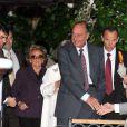Les invités se dirigent vers le Punta Della Dogana à Venise pour le dîner précédant la célébration du mariage de Salma Hayek et François-Henri Pinault le 24 avril 2009 : Jacques et Bernardette Chirac