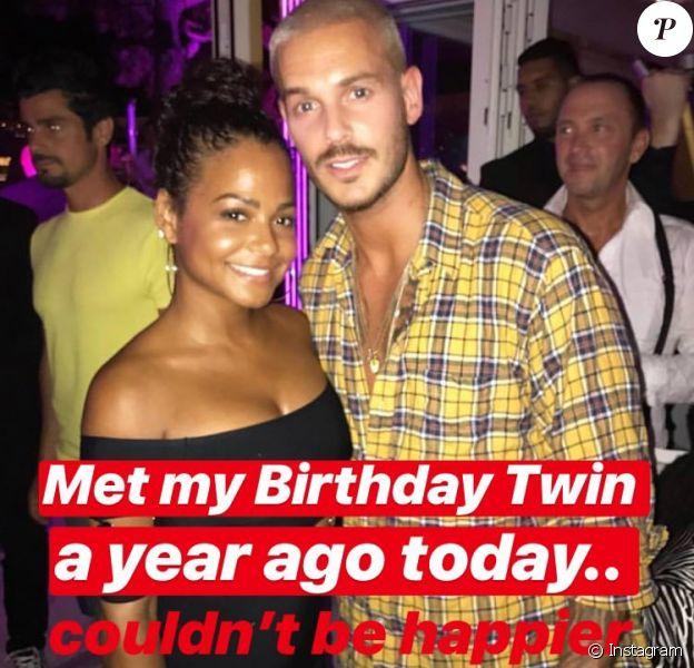 Le 1er août 2018, Christina Milian a fait un clin d'oeil à son chéri M. Pokora sur son compte Instagram, célébrant les un an de leur rencontre. Le couple ne s'est plus quitté après ce jour.