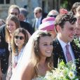 Charlie Van Straubanzee et sa femme Daisy Jenks lors de leur mariage à l'église Sainte-Marie-La-Vierge à Frensham, le 4 août 2018. Wedding of Charlie Van Straubanzee and Daisy Jenks at St Mary The Virgin Church, Frensham. August 4th, 2018.04/08/2018 - Frensham