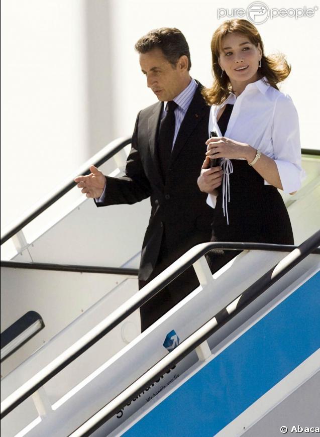 Nicolas Sarkozy et son épouse Carla arrivent à Madrid. 27/04/09