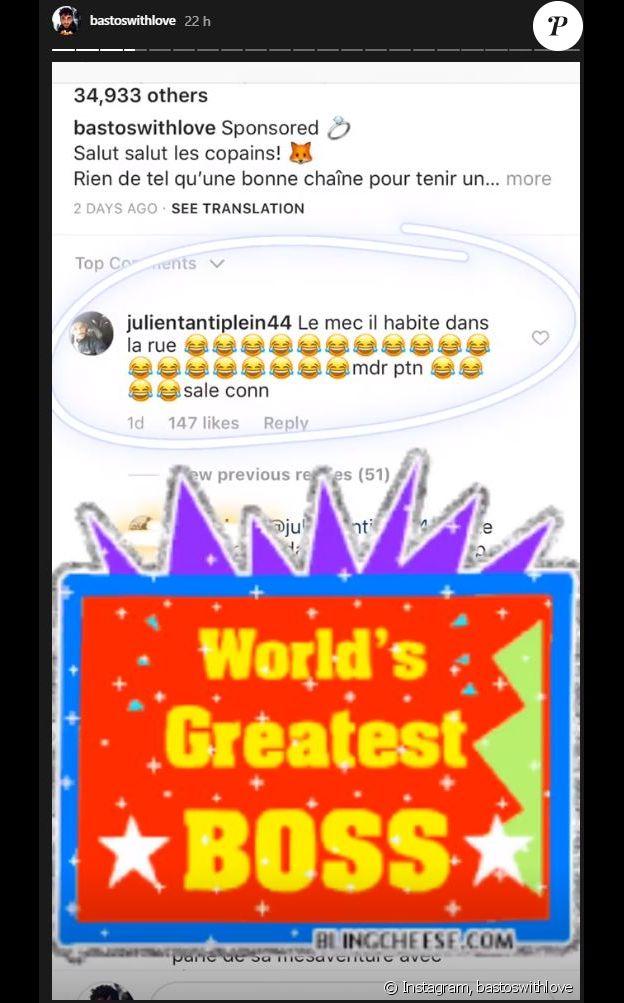 Bastien Grimal se fait tacler par Julien Tanti sur Instagram - 13 août 2018