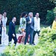 George Clooney et sa femme Amal partant dîner avec des amis au restaurant Villa D'Este sur le lac de Côme en Italie le 28 juillet 2018.