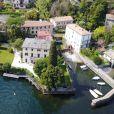 Vue aérienne de la Villa d'Oleandra, propriété de George Clooney à Laglio sur le Lac de Côme, Italie, le 2 avril 2017.