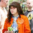 America Ferrera sur le tournage d'Ugly Betty le 28 avril 2009
