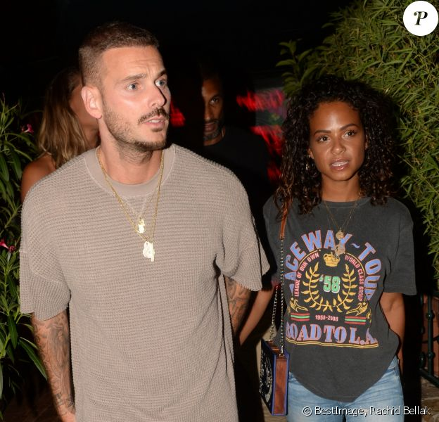 Exclusif - Matt Pokora (M. Pokora) et sa compagne Christina Milian à la sortie du VIP Room à Saint-Tropez, le 17 août 2018. © Rachid Bellak/Bestimage