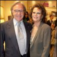 Claudia Cardinale et Diego della Valle lors de la soirée Tod's, rue du Faubourg St Honoré, le 28/04/09