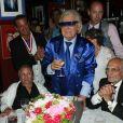 Exclusif - Rosa Bouglione avec son fils Emilien et Michou - Michou fête son 84ème anniversaire dans son cabaret à Paris le 18 juin 2015.