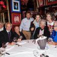 Les artistes de cirque Emilien et Rosa Bouglione, l'acteur Jean-Paul et Alain Belmondo, Michou, le chanteur Michel Orso, Charles Gerard - Michou fête son 84ème anniversaire dans son cabaret à Paris le 18 juin 2015.