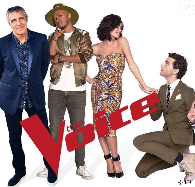 """Jenifer, Mika, Julien Clerc et Soprano - photo officielle du nouveau jury de """"The Voice"""", saison 8"""