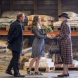 La reine Margrethe II de Danemark visitant la ville de Svendborg le 7 septembre 2018 lors de sa tournée d'été à bord du yacht royal, le Dannebrog.