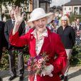 La reine Margrethe II de Danemark visitant la ville de Svendborg le 6 septembre 2018 lors de sa tournée d'été à bord du yacht royal, le Dannebrog.