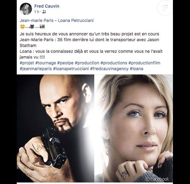 Loana prépare un nouveau projet en tant qu'actrice avec l'acteur Jean-Marie Paris... Facebook Fred Cauvin.