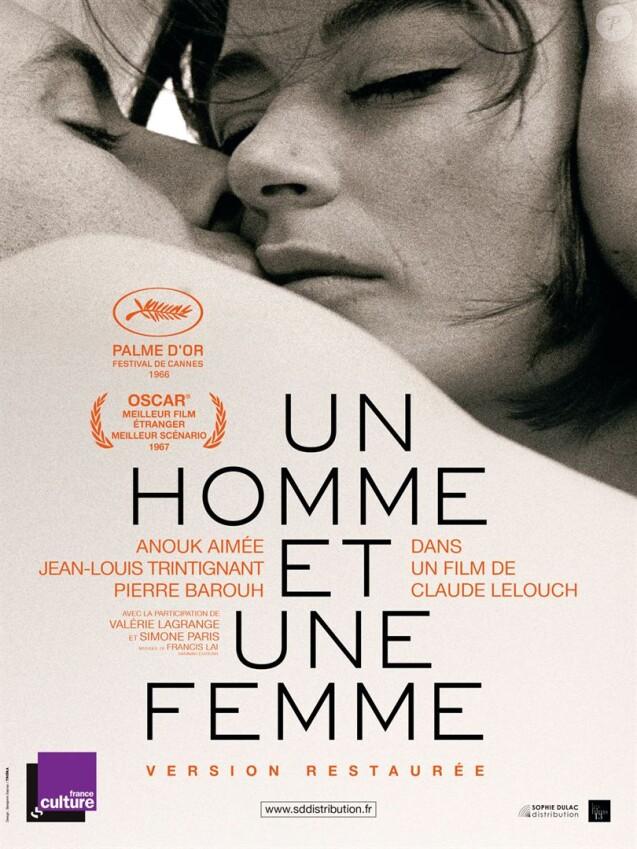 """Affiche du film """"Un homme et une femme"""", de Claude Lelouch, sorti en 1966. Version restaurée en 2016."""