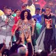 J Balvin, Cardi B et Bad Bunny à la soirée 2018 American Music Awards au Microsoft Theater à Los Angeles, le 9 octobre 2018.