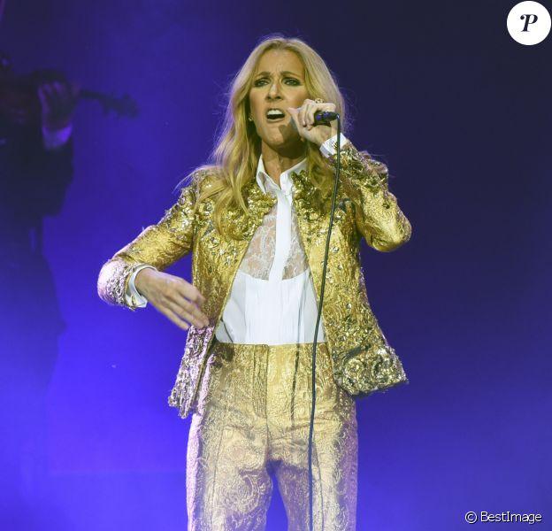 """Celine Dion en concert lors de sa tournée """"Celine Dion Live 2018"""" au Qudos Bank Arena de Sydney en Australie le 27 juillet 2018"""