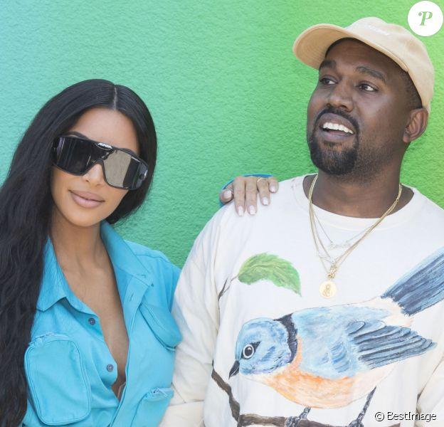 """Kim Kardashian et Kanye West - Backstage du défilé de mode Homme printemps-été 2019 """"Louis Vuitton"""" à Paris. Le 21 juin 2018 © Olivier Borde / Bestimage"""