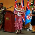 """Meghan Markle, duchesse de Sussex (enceinte) lors de son discours sur le campus de l'Université du Pacifique Sud (""""University of the South Pacific"""") à Suva lors de son voyage officiel aux îles Fidji, le 24 octobre 2018."""