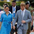 Le prince Harry et Meghan Markle lors de leur départ du royaume des Tonga, à l'aéroport de Fua'amotu, le 26 octobre 2018.