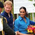 Le prince Harry, duc de Sussex, et Meghan Markle, duchesse de Sussex visitent le Tupou College, à Toloa, sur l'île de Tongatapu, aux Tonga, le 26 octobre 2018.