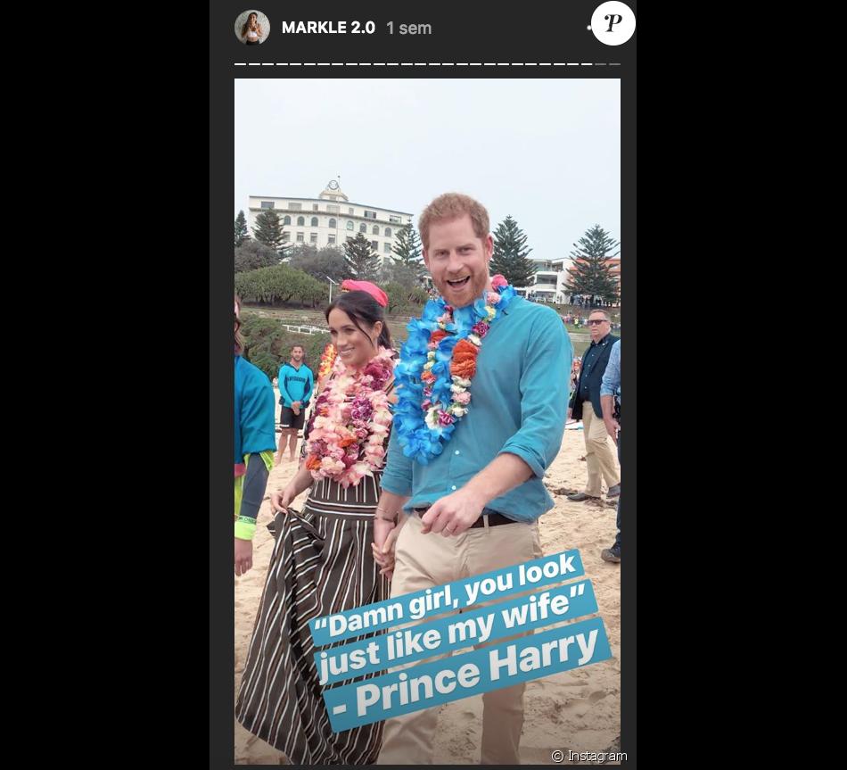 Image de la story Instagram de Danielle Bazergy suite à sa rencontre avec le prince Harry et la duchesse Meghan de Sussex, à laquelle elle ressemble étonnamment, lors de leur passage à Bondi Beach, Sydney, en Australie le 20 octobre 2018.
