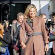 La reine Maxima des Pays-Bas lors de sa visite au centre 113 pour la prévention du suicide à Amsterdam le 2 novembre 2018, pour le dixième anniversaire de l'organisation. Cet engagement avait lieu cinq mois après que la petite soeur chérie de la reine s'est donné la mort.